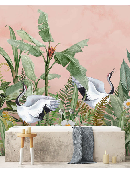 Creative Lab Amsterdam Dancing Crane Birds Bathroom Wallpaper