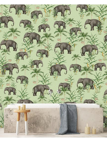 Creative Lab Amsterdam Oscar the Elephant Green Bathroom Wallpaper