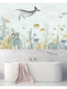 Creative Lab Amsterdam Sealife Blue Bathroom Wallpaper