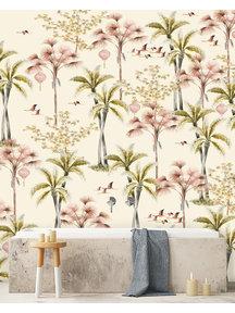 Creative Lab Amsterdam Oriental Flamingo Flight Bathroom Wallpaper