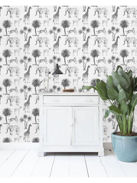 Savanna Black & White Wallpaper