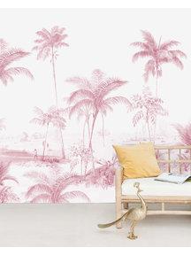 Creative Lab Amsterdam Exotic palms Pink Behang Mural