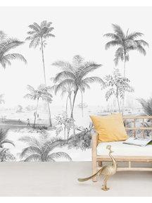 Creative Lab Amsterdam Exotic palms Black & White Behang Mural