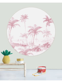 Creative Lab Amsterdam Exotic palms Pink Wallpaper Circle