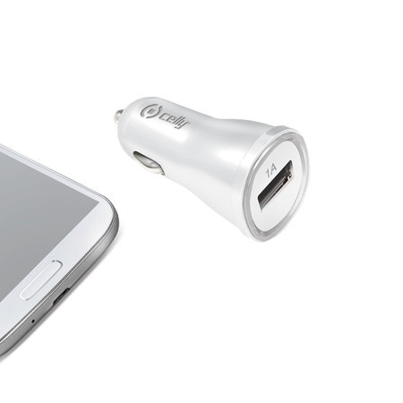 Celly CAR CHARGER 1A WITH USB PORT WHITE