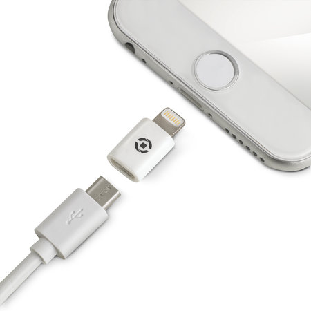 Celly ADAPTER LIGHTNING MICROUSB WH