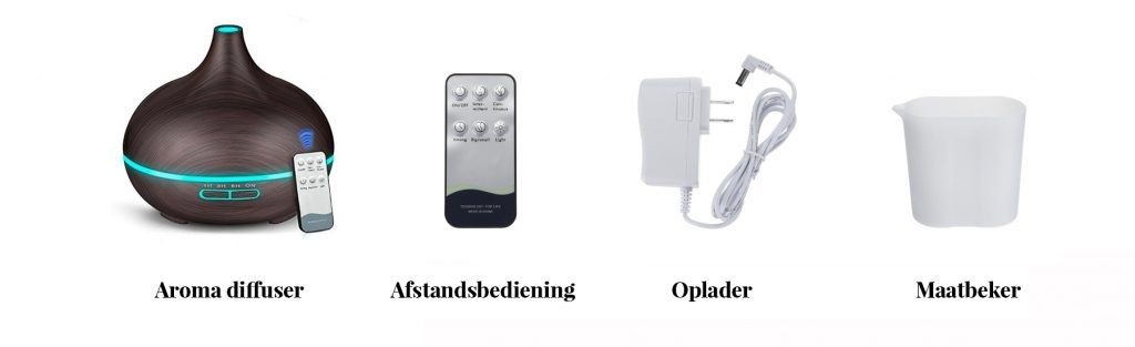 Aroma diffuser - Afstandbediening - Oplader - Maatbeker