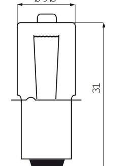 IKZI Halogeenlamp met kraag 6 Volt / 2,4 Watt / 0,45 Ampere P13.5S