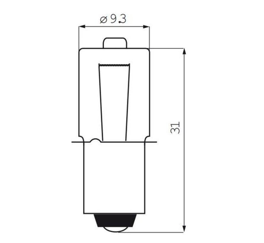 Halogeenlamp met kraag 6 Volt / 2,4 Watt / 0,45 Ampere P13.5S