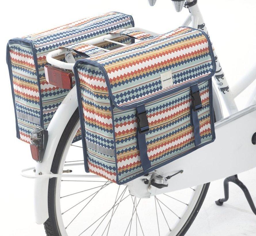Dubbele fietstas New Looxs Fiori Double - 30 liter - diamond spring