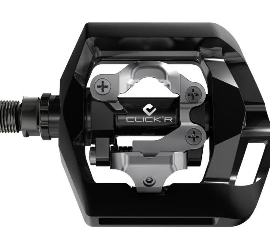 Pedaalset Shimano Click'R T421 platform + enkelzijdig SPD met SM-SH56 plaatjes - zwart