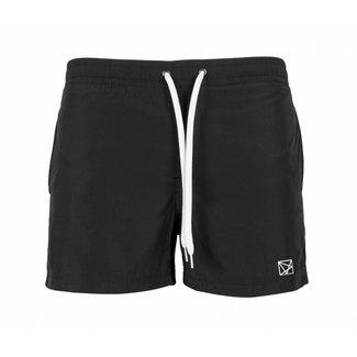 EMBROIDERED POLYGON WHITE SWIMSHORT BLACK