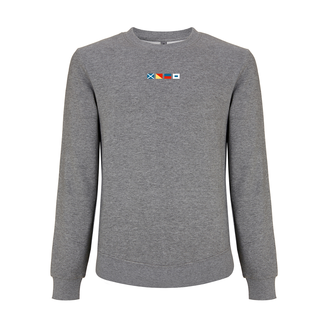 EMBROIDERED FLAGS SWEATER GREY