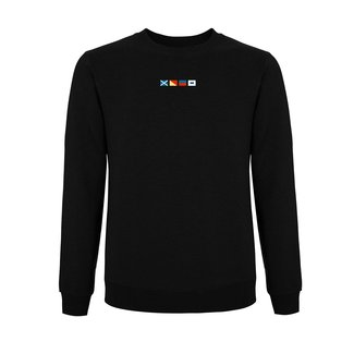 EMBROIDERED FLAGS SWEATER BLACK