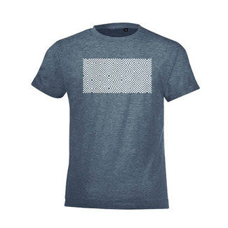 PRINTED MAZE T-SHIRT DENIM BLUE