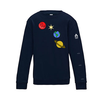 EMBROIDERED SPACE SWEATER NAVY BLUE