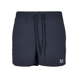 EMBROIDERED POLYGON WHITE SWIMSHORT NAVY BLUE