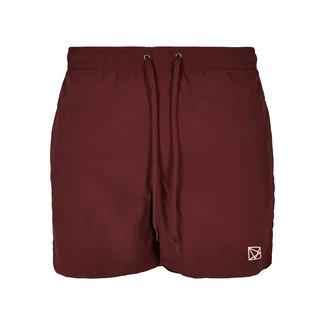 EMBROIDERED POLYGON WHITE SWIMSHORT BURGUNDY