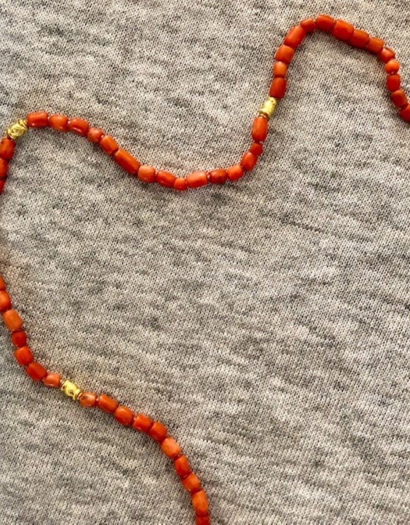 Japanese coral Afghan beads