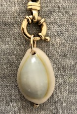 Turquoise cowrie charm 14 crt gold inlay