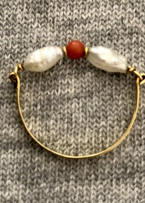 Coral sweet water Pearl ring