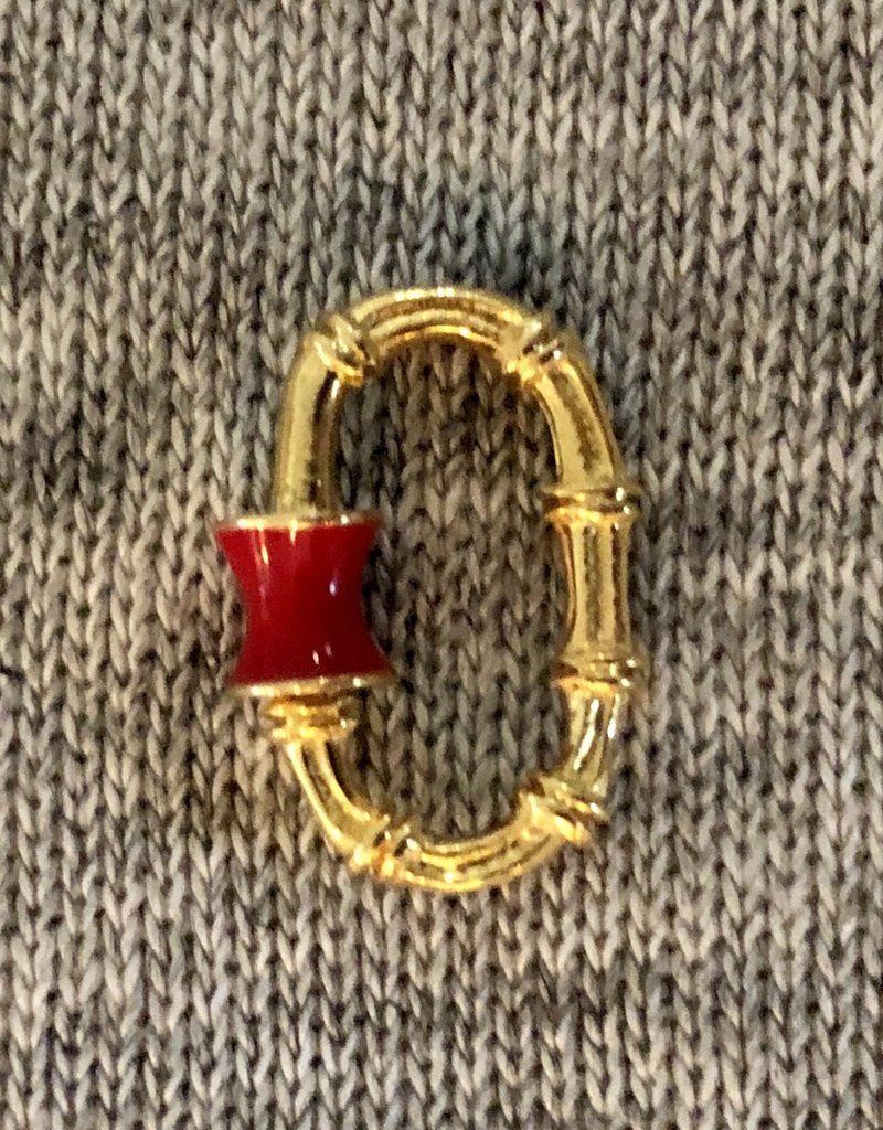Bamboo red emaille charm lock/holder