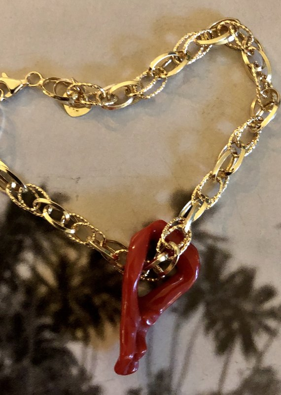 Mixed chain coral bracelet