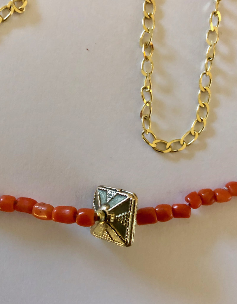 Indian bead gourmet coral necklace