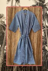 Blue white striped bathrobe