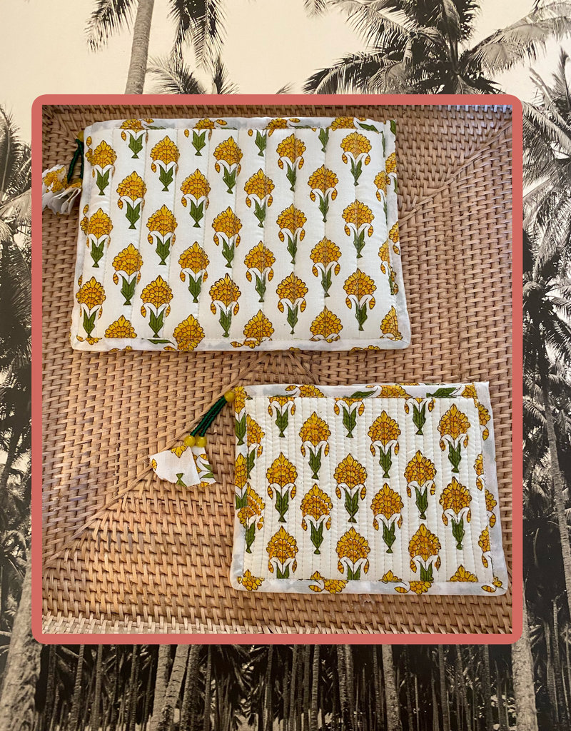 Yellow floral quilted bag set