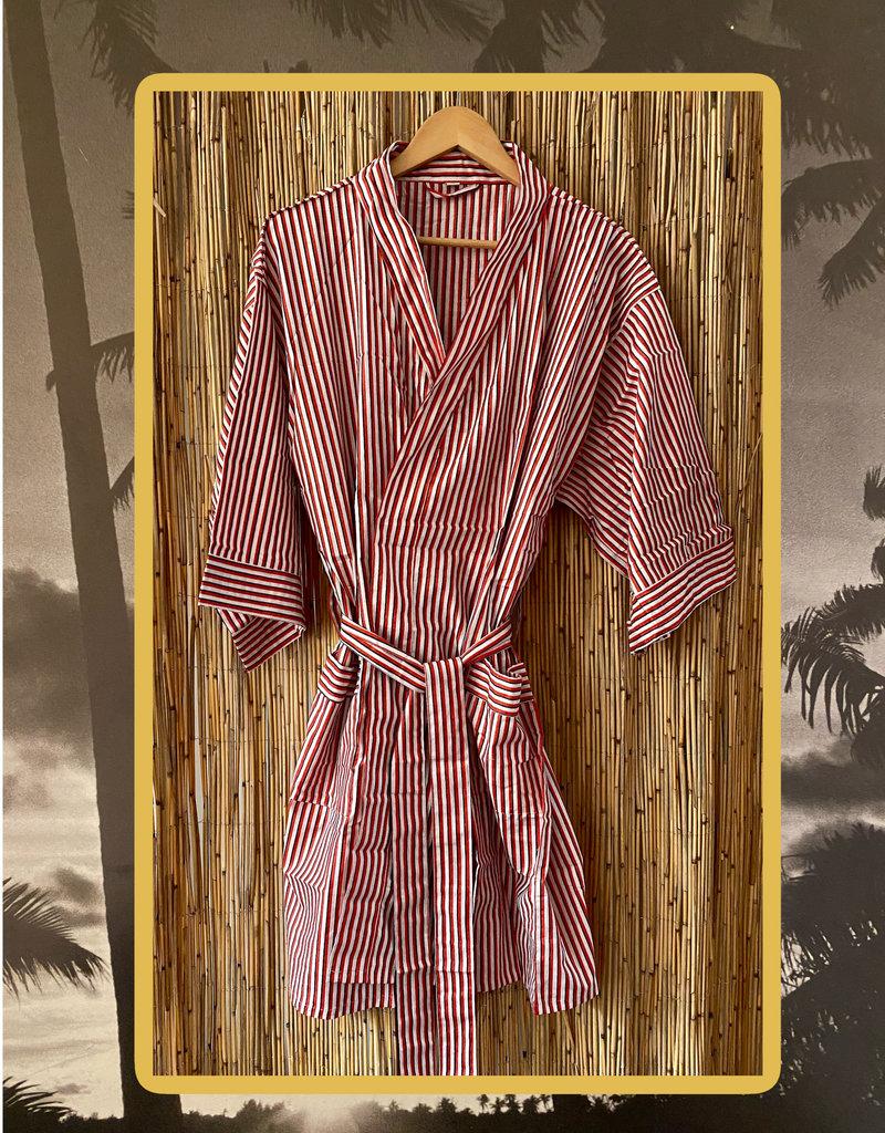 Red/white striped bathrobe