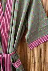 Floral striped bathrobe