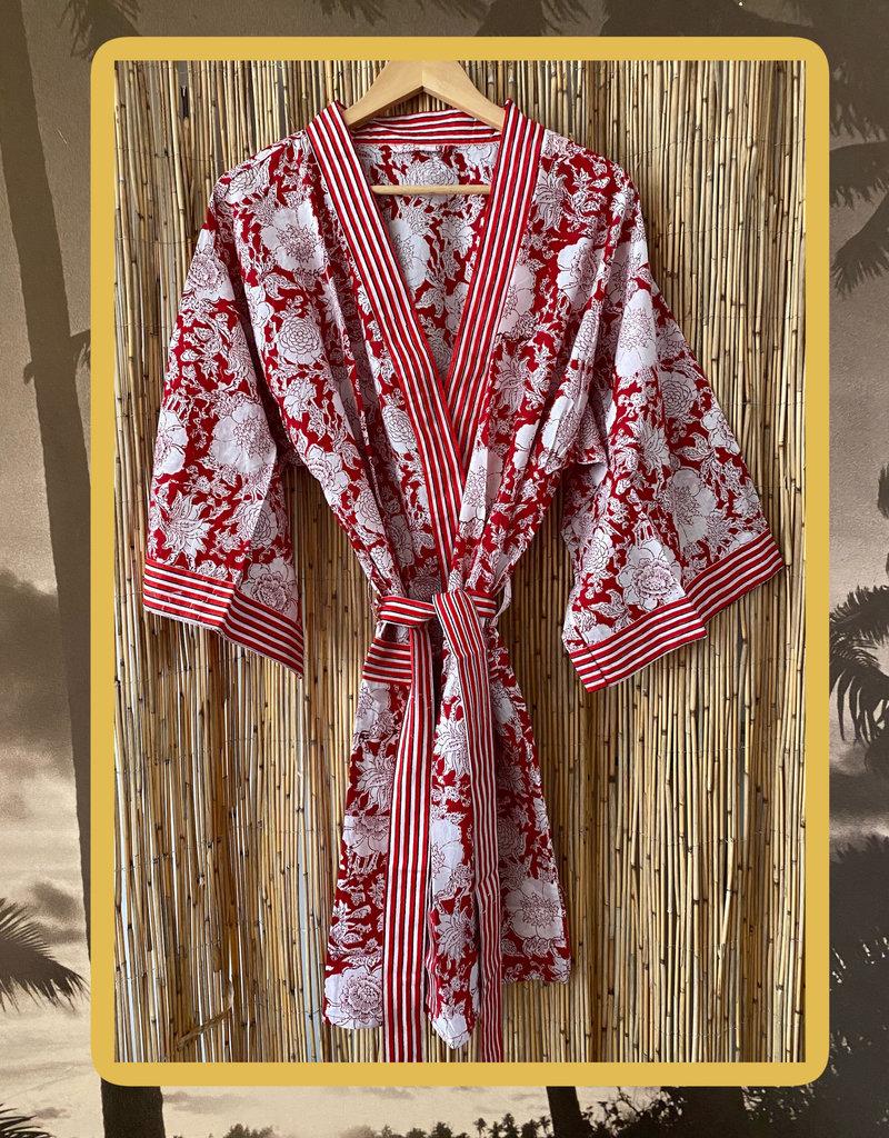 Floral striped kimono short