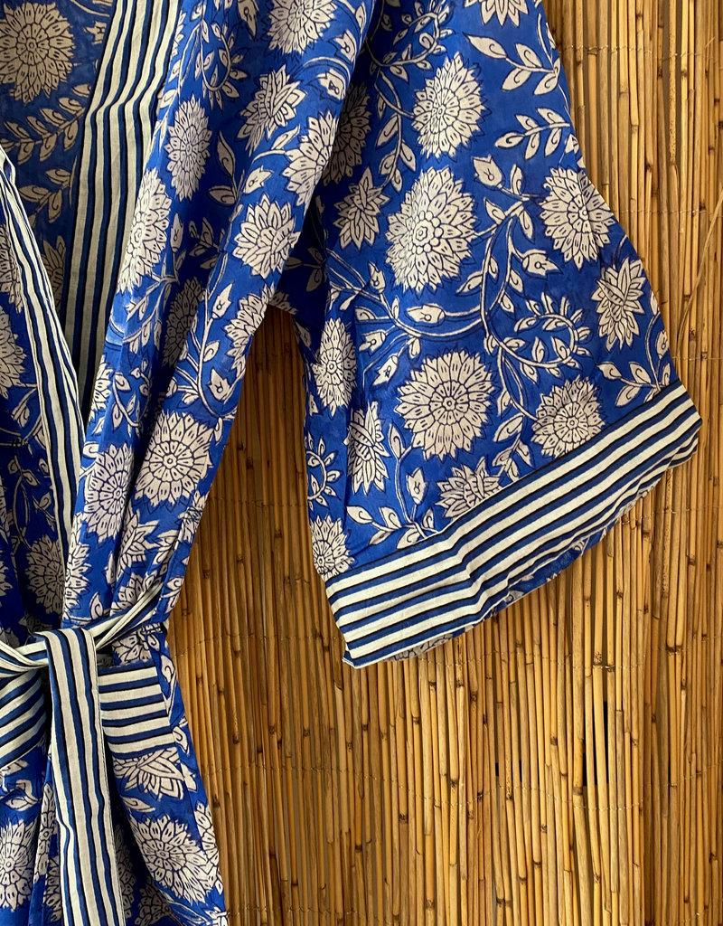 Blue floral striped bathrope