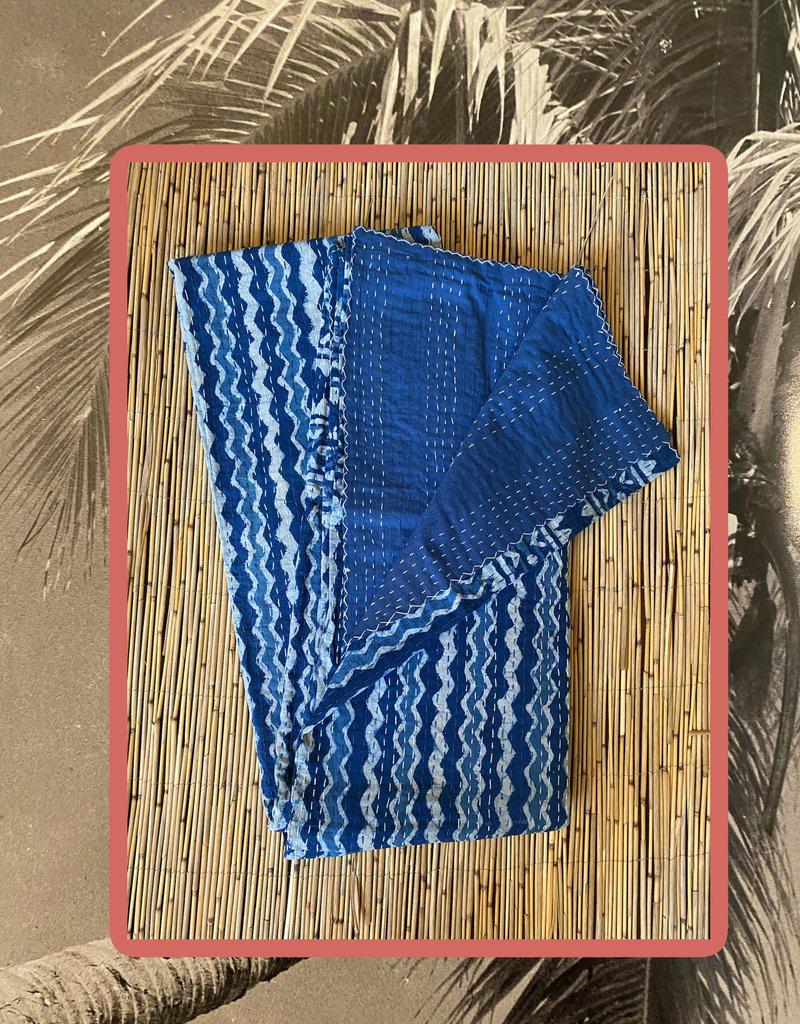 Indigo blue handmade Kantha throw