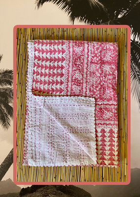 Pink double floral throw