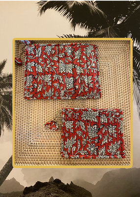 Red floral quilted all purpose bag