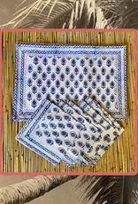 Blue white placemat set with napkins