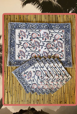 Pink blue placemat set with napkins