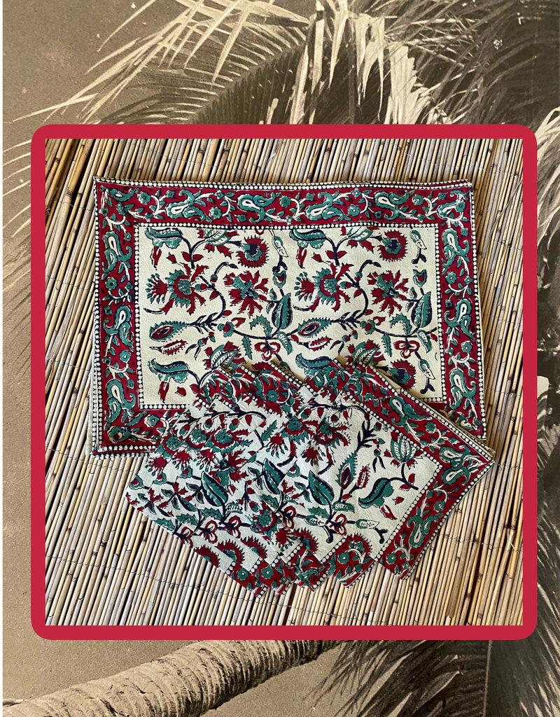 Bordeaux placemat set with napkins