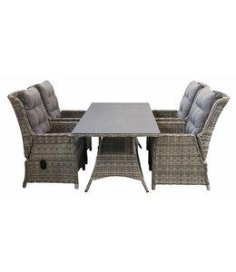 4-jahreszeiten gartenmoebel 5-teiliges Gartenset  4 verstellbaren  Milano stuhlen 160 cm Tisch Keramik   Ash Grey