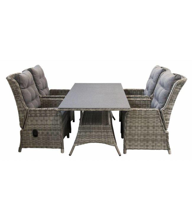 4-jahreszeiten gartenmoebel Milano 5-teiliges Gartenset mit verstellbaren Sitzen und 160 cm Tisch (Ash grey)