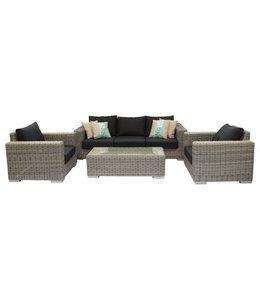 4 Jahreszeiten Gartenmöbel Sessel-Bank Loungeset Prince | 4-tlg. | Rattan