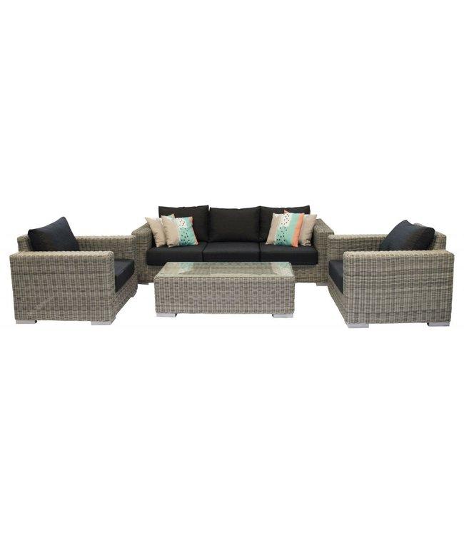 4 Jahreszeiten Gartenmöbel Sessel-Bank Loungeset Prince   4-tlg.   Mystic grey   Rattan