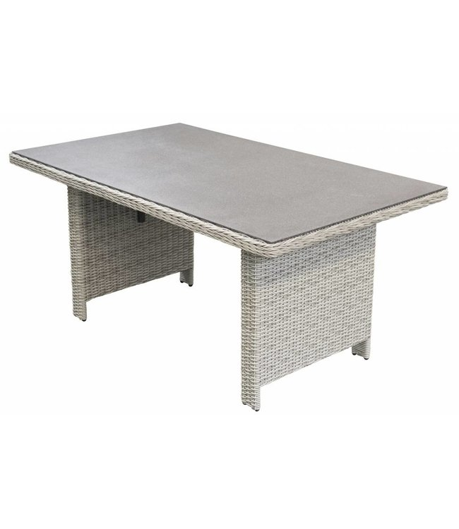 4 Jahreszeiten Gartenmöbel Gartentisch Milano 145x85cm | Mystic Grey | Wicker & Keramik