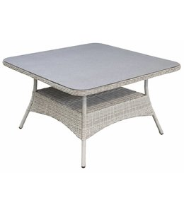 4 Jahreszeiten Gartenmöbel Gartentisch  Dublin 115x115cm | Mystic Grey | Wicker & Keramik