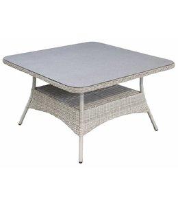 4 Jahreszeiten Gartenmöbel Gartentisch  Milano 115x115cm | Mystic Grey | Wicker & Keramik