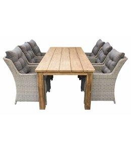 4 Jahreszeiten Gartenmöbel 7-Teilige Gartenset 6 Milano Gartenstühle (Mystic Grey) + Gartentisch  Jakarta 240 cm Teakholz