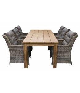 4 Jahreszeiten Gartenmöbel 7-teiliges Gartenset 6 Dublin Stühle Ash Grey 240 cm Jakarta Gartentisch Teak
