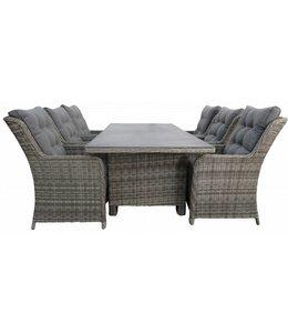 4-jahreszeiten gartenmoebel 7-teiliges Gartenset  6 Milano stuhle (Ash Grey) mit 230 cm Gartentisch keramik (Ash Grey)